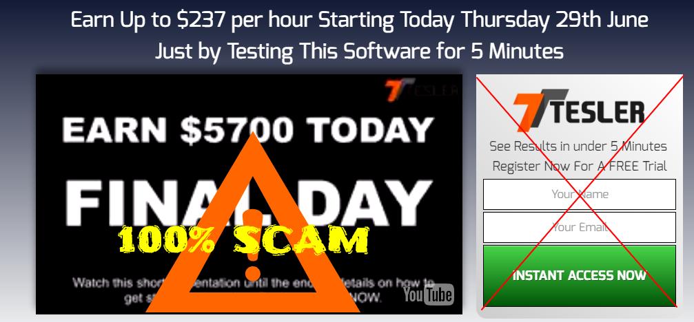 tesla app scam