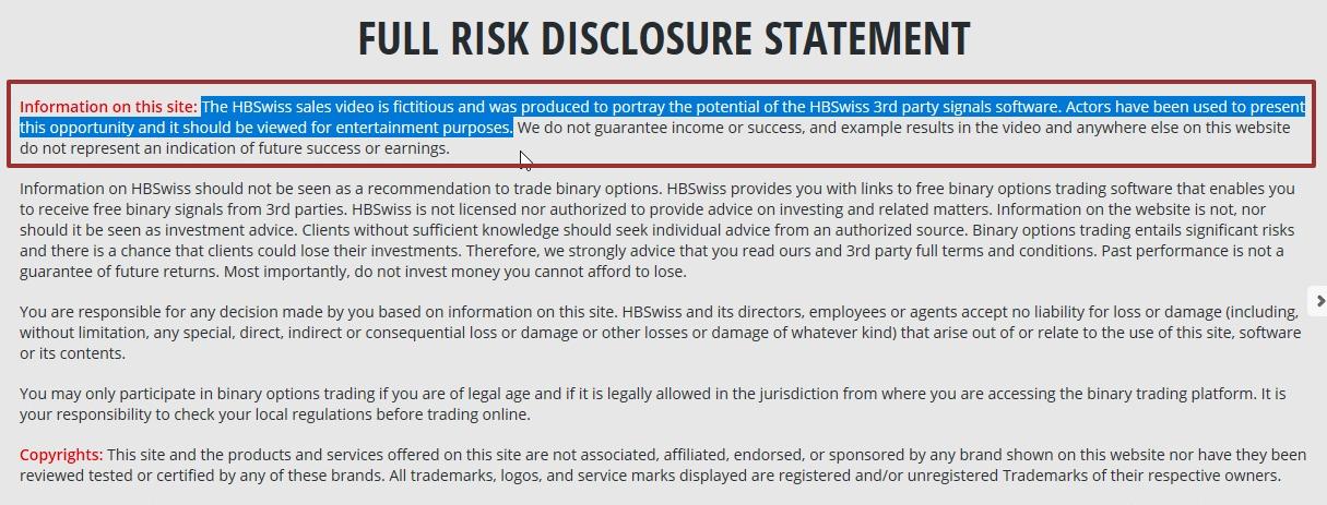 hbswiss risk disclosure