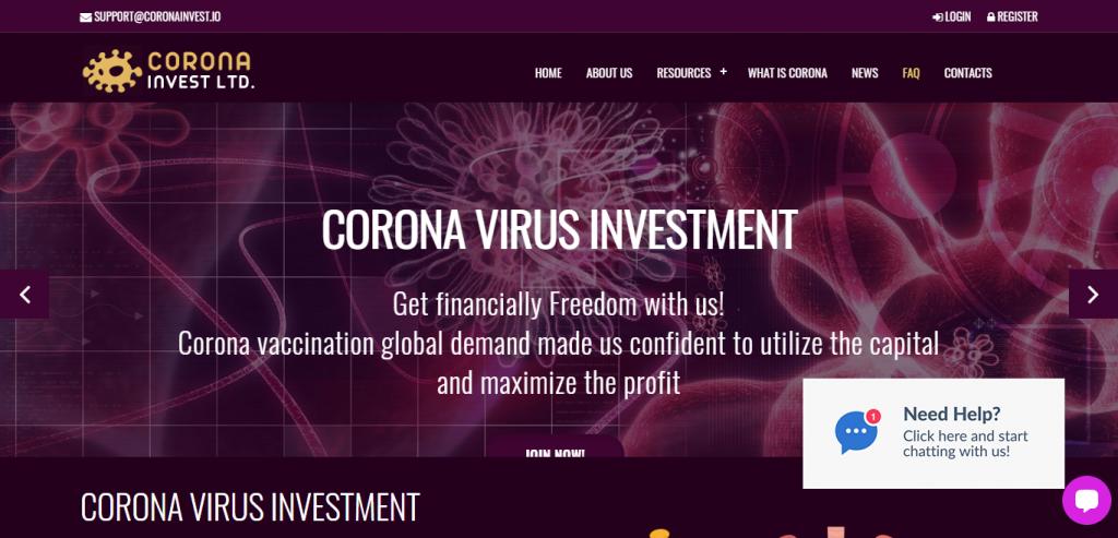 Coronainvest Home image