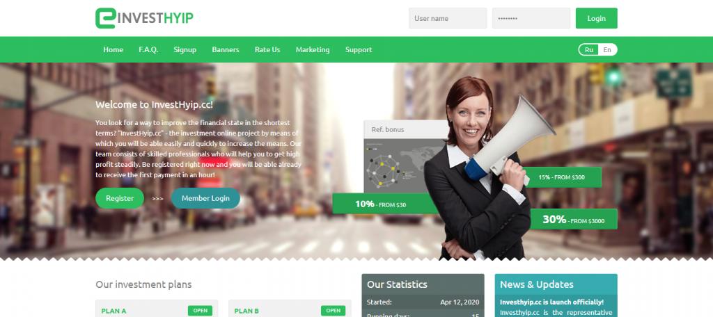 Investhyip Homepage