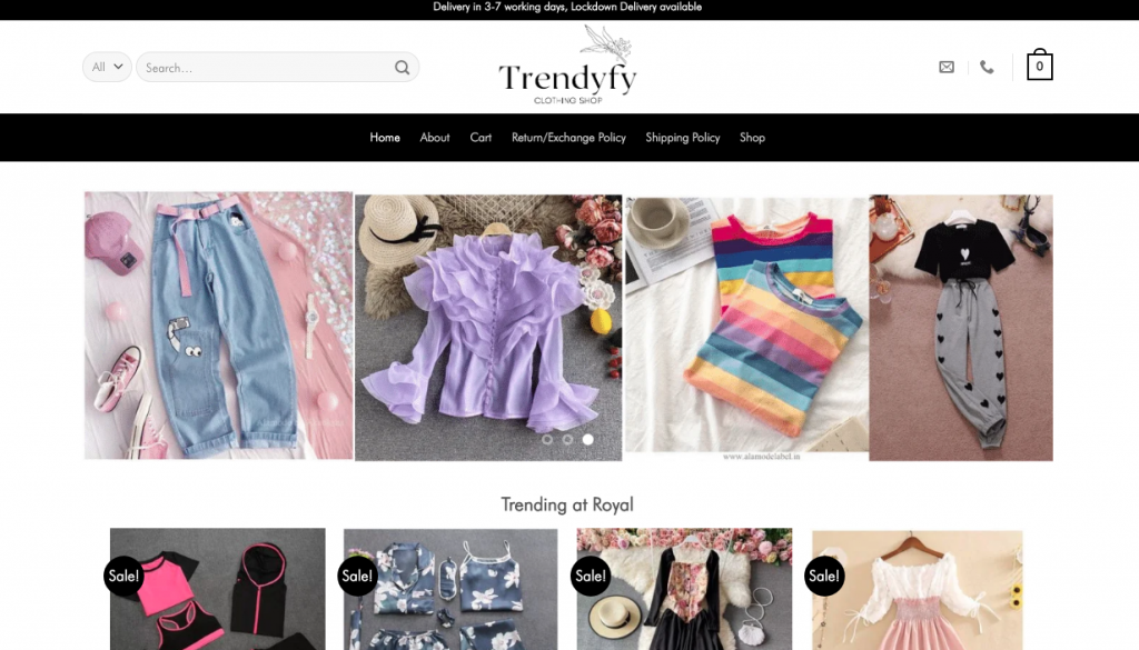 Trendyfy Clothing Homepage