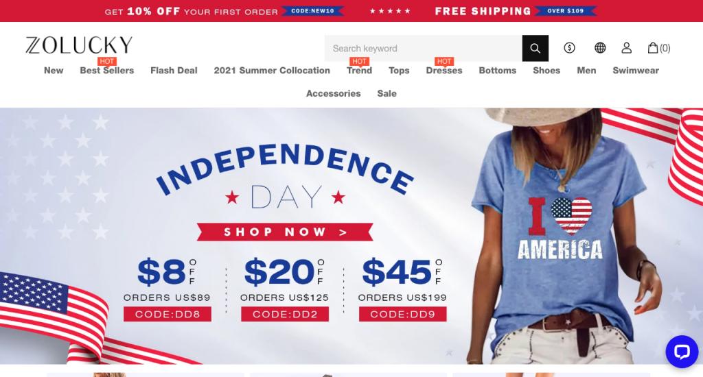 Zolucky Clothing Homepage